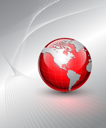 Business background, grey with red world globe Illustration