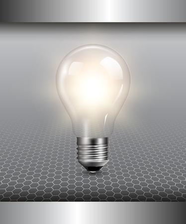 bulb light: 3D background with light bulb illuminated, vector. Illustration
