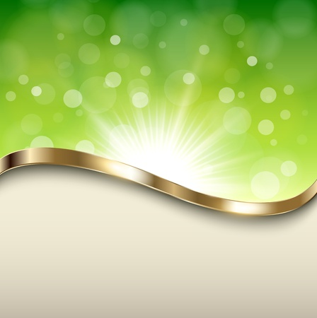 focus on shadow: Abstract green background with gold wave, vector.