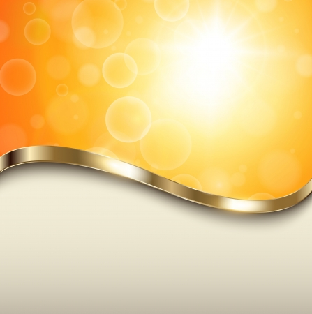 focus on shadow: Abstract orange background with gold wave, vector.