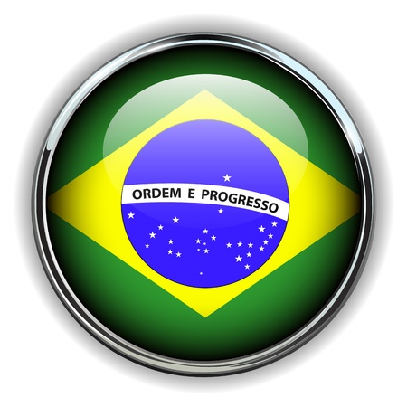 Brazil flag button Vector