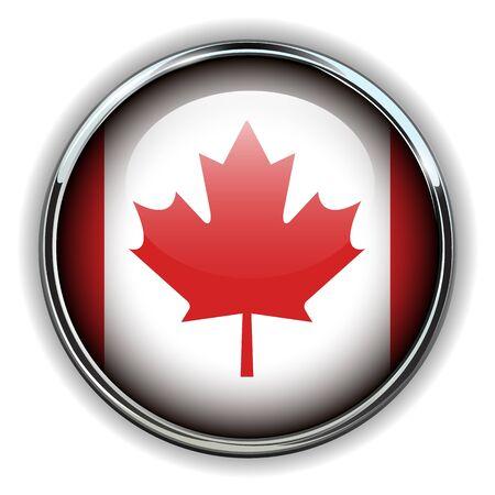 canadian flag: Canada flag button Illustration