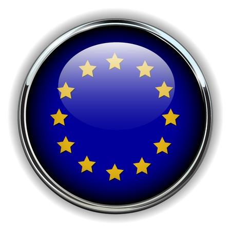 eu flag: EU, European Union flag button Illustration