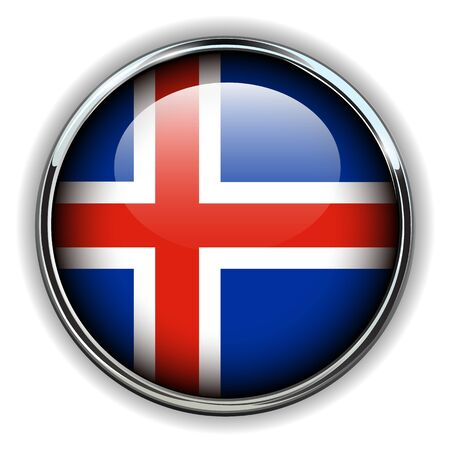 iceland flag: Iceland flag button Illustration