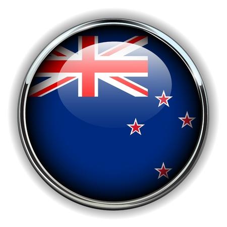 new zealand flag: New Zealand flag button  Illustration