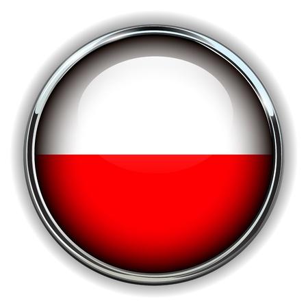 bandera de polonia: Bandera de Polonia botón Vectores