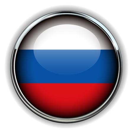 bandera rusia: Bandera de Rusia botón Vectores