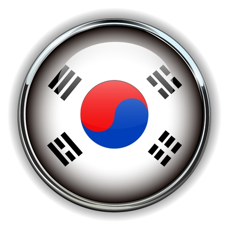 South Korea flag button  Vector