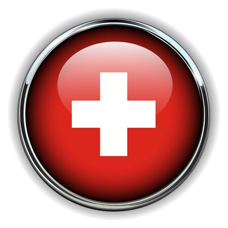 swiss flag: Swiss flag button  Illustration