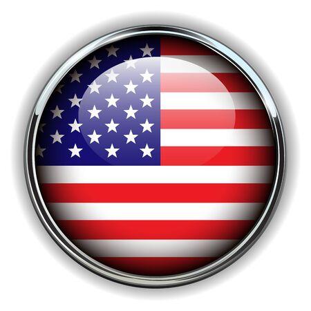 USA, american flag button Stock Vector - 17411790