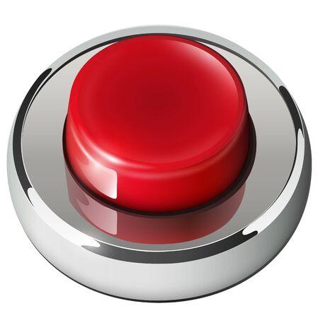 chrome button: Red web button isolated, chrome metallic.