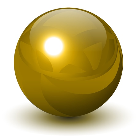 Gold sphere, vector golden ball.