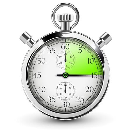 15 segundos al cronómetro. Ilustración de vector
