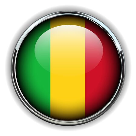 Republic of Mali flag button Vector