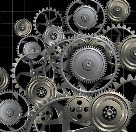 Technology background avec des engrenages en métal et des roues dentées. Vecteurs