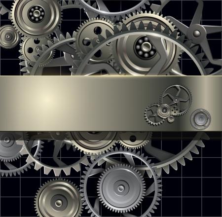 rueda dentada: Tecnolog�a de fondo con engranajes de metal y engranajes. Vectores