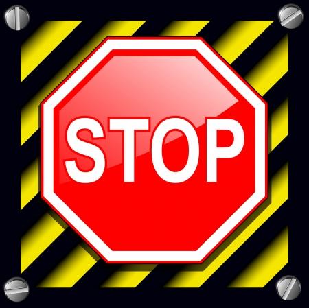 señales preventivas: Pare la muestra sobre aviso fondo de las rayas