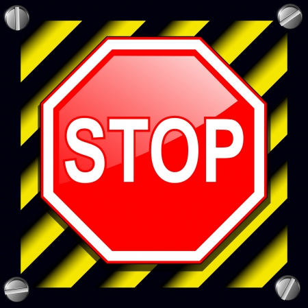 warning signs: Stop sign over warning stripes background Illustration