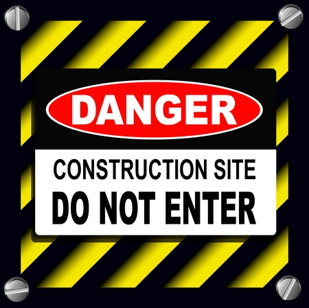 Danger sign over warning stripes background Stock Vector - 17777759