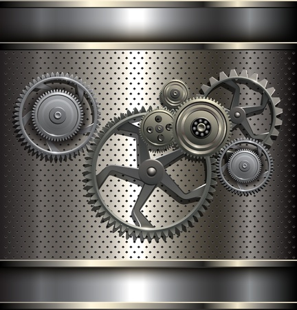 Metallic, technology background with metal gears. Stock Vector - 17777745
