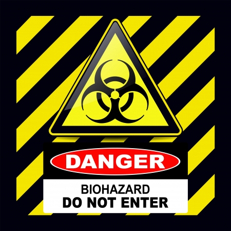 biohazard symbol: Biohazard, danger sign warning with stripes background Illustration