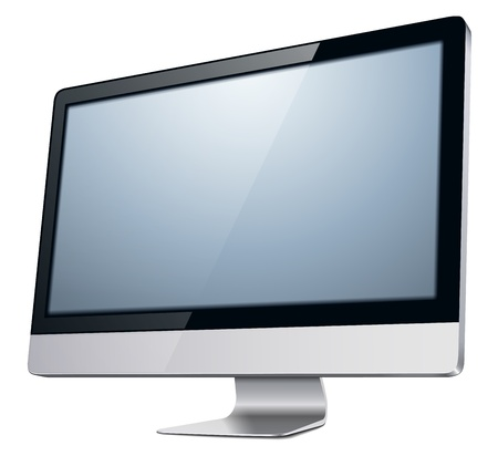lcd tv monitor, illustration. Vector