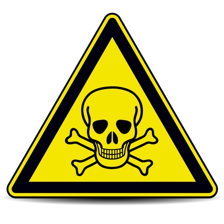 electricity danger of death:  Skull danger sign, symbol.