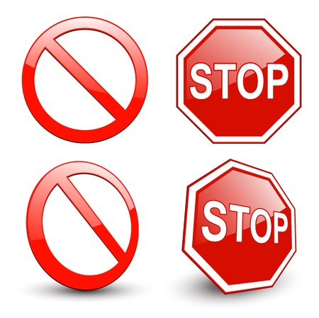 hazard sign: Stop sign, forbidden circle symbol.  Illustration