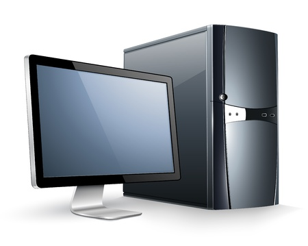 personal computer: Personal Computer with monitor. Illustration