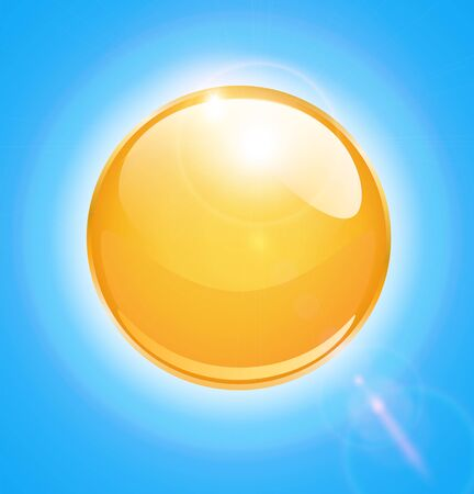Sun sphere icon with lens flares, illustration Vector