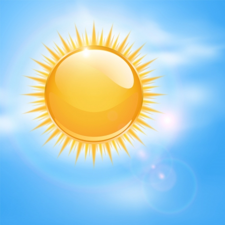 Spring, sunny background with sun and clouds.