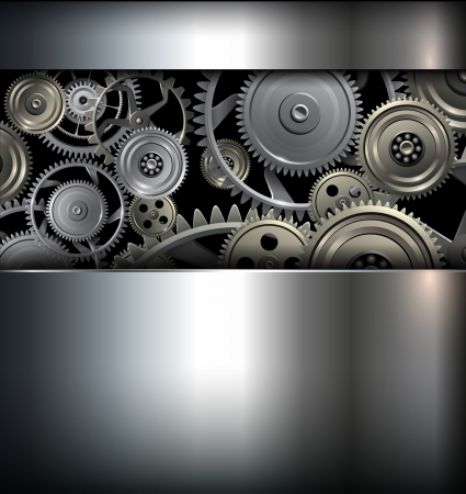 Technology background metallic gears and cogwheels. Vector