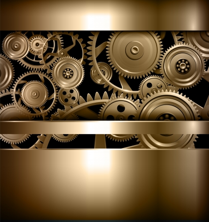 clockwork: Technology background metallic gears and cogwheels. Illustration