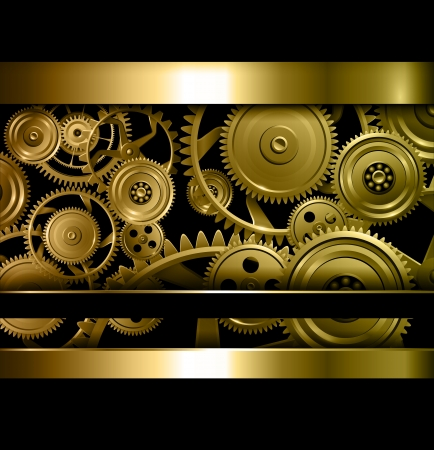 Technology background gold metallic gears and golden cogwheels.