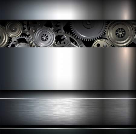 METAL BACKGROUND: Background metallic with technology gears,illustration.