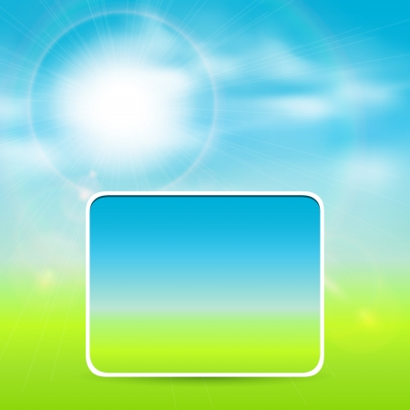 Sunny background with vector sun and clouds. Vector