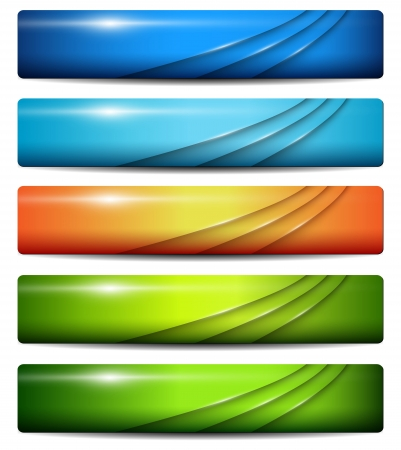 Banners, headers colorful glossy, vector. Vector