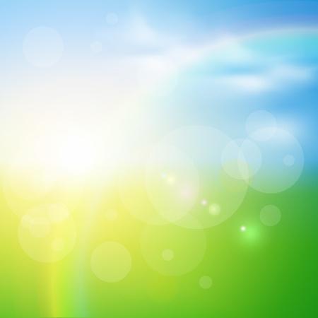 summer day: Fondo verde, soleado natural, ilustraci�n vectorial.