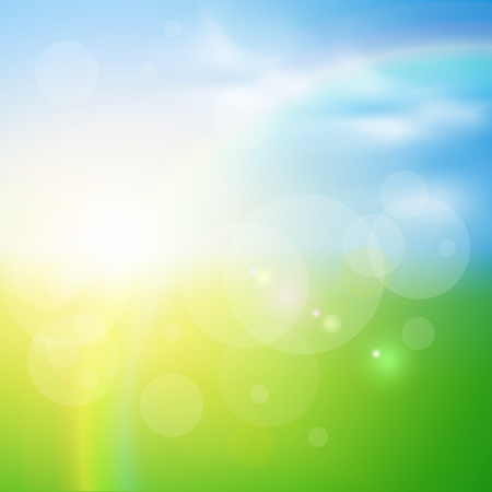 sky background: Green, sunny natural  background, vector illustration.