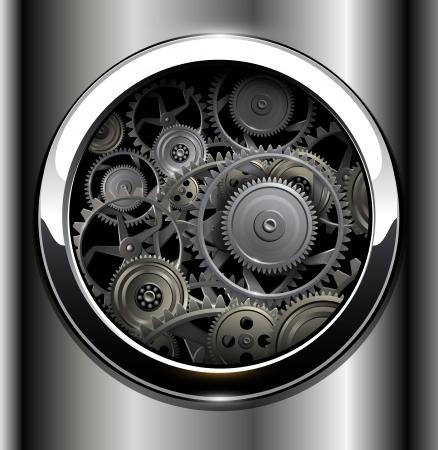 tandwielen: Achtergrond metallic met technologie versnellingen.