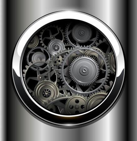 fantasy fiction: Background metallic with technology gears. Illustration