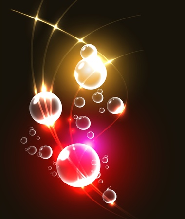 Abstract background with glowing bubbles,  illustration