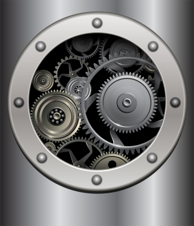 Technology background, metallic  gears. Stock Vector - 18677505