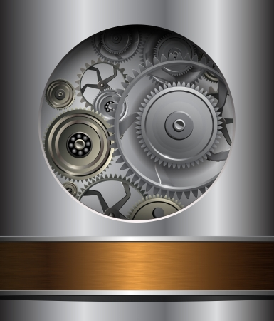 Technology background, 3D metallic  gears. Stock Vector - 18677502