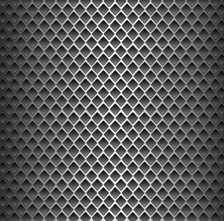 Seamless texture background - black metal surface square perforated. Vector