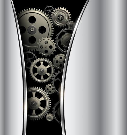 Abstract background metallic silver with gears, vector. Stock Vector - 18853886