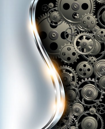 Abstract background metallic chrome silver with gears, vector. Vector