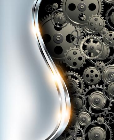 Resumen de fondo met�lico cromado con engranajes de plata, vector.