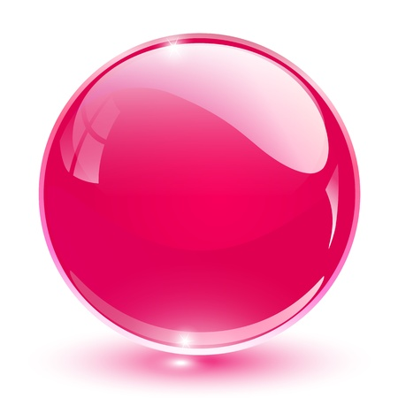 3D crystal sphere pink, vector illustration.