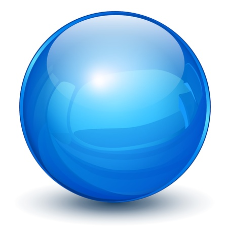 Glossy sphere 3D blue Stock Vector - 18983061